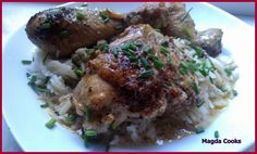 delicate stewed chicken legs on rice
