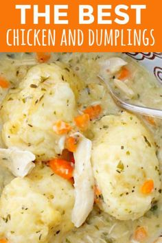 Easy Chicken and Dumplings with Biscuits is a simple weeknight dinner recipe using rotisserie chicken and Pillsbury refrigerated biscuits. These creamy chicken and dumplings are a hearty comfort food dish perfect for cold weather. Chicken Dumpling Soup, Crockpot Chicken And Dumplings, Dumplings For Soup, Dumpling Recipe, Turkey And Dumplings, Homemade Dumplings, Chicken And Dumplings Pillsbury, Home Made Dumplings Recipe, Chicken And Bisquick Dumplings