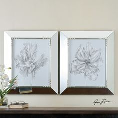 Uttermost Silvery Blue Tulips in Mirrored Frames, S/2