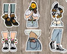 Stickers Kawaii, Preppy Stickers, Cute Laptop Stickers, Cool Stickers, Journal Stickers, Scrapbook Stickers, Planner Stickers, Homemade Stickers, Tumblr Stickers