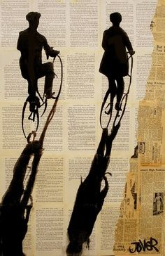 """: Loui Jover; Pen and Ink, Drawing """"cyclists"""" ...hiker(s) wandering over sheet music background..."""