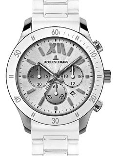 An on-trend sporty Jaques LeMans chronograph with a very comfortable silicon strap that can be on your wrist for a nice price. www.megawatchoutlet.com