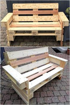 The use of wood pallets for the creation of easy pallet ideas is increasing day by day. Every homemaker is in the search of some fabulous DIY plans. The fabulous settlement of the old pallets will simply make us allow to design whatever we demand to Pallet Furniture Shelves, Pallet Furniture Plans, Pallet Bench Diy, Pallet Sofa, Furniture Ideas, Pallet Crafts, Diy Pallet Projects, Wood Projects, Banquette Palette