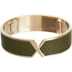 "Valextra ""VX"" Cuff (7,370 MXN) ❤ liked on Polyvore featuring jewelry, bracelets, accessories, wrap bracelet, bracelet bangle, engraved bracelet, hinged bangle bracelet and green bangle bracelet"