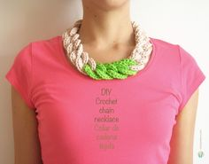 DIY crochet chain necklace, free pattern, easy and beautiful / Collar de cadena tejida, hazlo tú mismo, fácil y bello