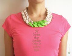 DIY crochet chain necklace, free pattern, easy and beautiful / Collar de cadena tejida, hazlo tú mismo, fácil y bello