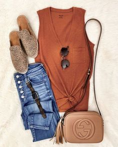 IG: @mrscasual | Orange tank, button up jeans, leopard mules, & Gucci crossbody Mode Outfits, Edgy Outfits, Fall Outfits, Summer Outfits, Fashion Outfits, Womens Fashion, Short Outfits, Fashion Trends, Earthy Outfits