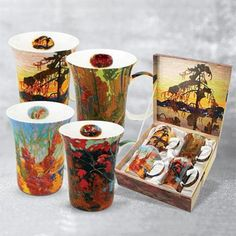 A cup of coffee never looked so good - New Tom Thomson Mug Set. Tom Thomson art on bone china mugs have created a gift sensation - new launch from McIntosh Trading. Mugs Set, Tea Mugs, Art Gallery Of Hamilton, Tom Thomson, Fall Garland, Canadian Art, Matching Gifts, China Mugs, My Cup Of Tea