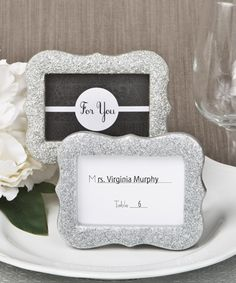 Silver Bling Glitter Photo Frame / Place Card Holder from HotRef.com #placecardholder #silver