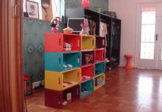 Use wooden crates from michaels to make tall shelves