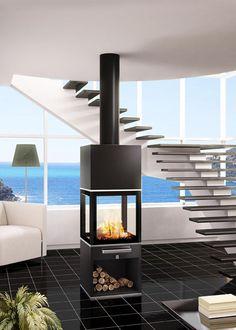 vidar triple fonte flamme po le bois contemporain. Black Bedroom Furniture Sets. Home Design Ideas