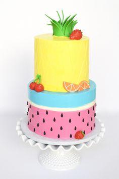 A tutti fruity cake for a Two-tti fruity birthday! Happy Birthday Holland :) (inside: raspberry cake and gluten free funfetti cake with vanilla swiss meringue frosting)