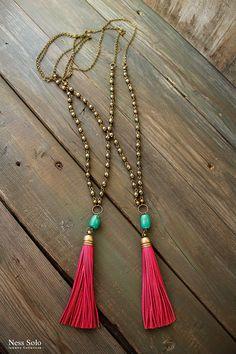 Boho tassel necklace Bohemian jewelry Long Boho beaded by NessSolo