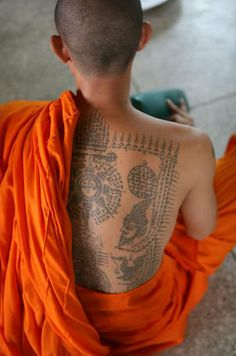 dr0gon:    Sak yant (yantra tattoo) designs are normally tattooed by magic practitioners and Buddhist monks, traditionally with a long bamboo stick sharpened to a point.