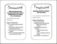 Digication e-Portfolio :: Felegi, Janelle Senior Portfolio :: Summarizing/Paraphrasing Lesson Plan - 5th grade