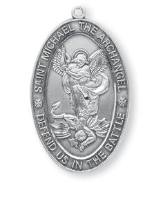 Sterling Silver Oval Holy Michael the Archangel Protection Medal Pendant ** More info could be found at the image url.