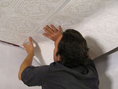 How to Hang Wallpaper on a Ceiling Add texture and style to a plain ceiling by applying embossed wallpaper. For the RV! Ceiling Paper, Floor Ceiling, How To Hang Wallpaper, Paper Wallpaper, Wallpaper Ceiling Ideas, Hanging Wallpaper, Embossed Wallpaper, Textured Wallpaper, Ceiling Texture
