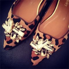 Russell + Bromley Tantrum jewelled leopard flats. ZOMG.