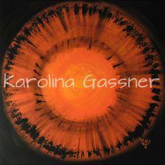 """""""Orange Circles"""" by Karolina Gassner © acrylic on canvas, cm. Acrylic Paintings, Circles, Orange, Canvas, Tela, Canvases"""