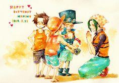 Ace, Luffy, Sabo, and Makino