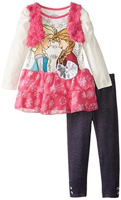 Disney Girls Frozen 2Piece Legging Set Mock Pink 2T *** Find out more about the great product at the image link.