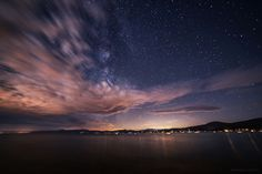 """The """"blood moon"""" lunar eclipse was obscured by these really amazing clouds over Lake Tahoe last night however the Milky Way and other stars were shining brightly [oc][1800x1201]"""
