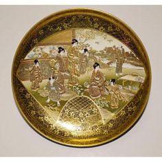 Assiette En Porcelaine De Satsuma Signé Kinkozan Japon