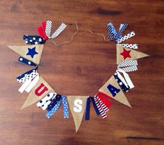 USA Burlap Banner/ Fourth of July Banner on Etsy ::CelebratewithLove::