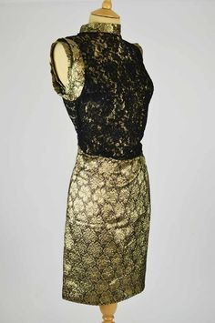 Mela Mela Vintage is pleased to offer this stylish vintage dress in black lace and gold lurex. Lace Dress Black, Vintage Dresses, 1960s, Sequin Skirt, Sequins, Formal Dresses, Stylish, Skirts, Gold