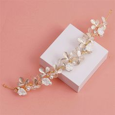 Elegant Gold Silver Plated Bridal Hair Vine Flower Leaf and Pearls Wedding Headband Hair accessories #Affiliate