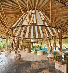 Bamboo Architecture, Sustainable Architecture, Architecture Design, Bamboo Roof, Bamboo Art, Bamboo Ideas, Pvc Tent, Bamboo House Design, Bamboo Building