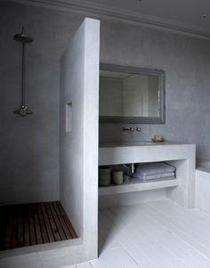 Polished concrete shower and bathroom vanity Bathroom Interior, Modern Bathroom, Small Bathroom, Bathroom Black, Bathroom Ideas, Bathrooms Decor, Bathroom Tubs, White Bathrooms, Luxury Bathrooms