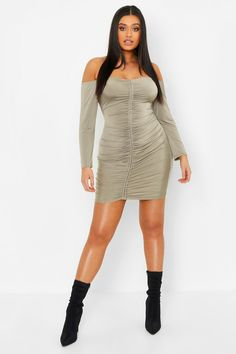 5c92c584f46 Plus Slinky Off The Shoulder Ruched Bodycon Dress