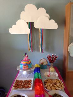 Cloud backdrop with rainbow ribbons for Unikitty party