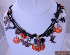 Kirks Folly Jack Flash Pumpkin Patch Cord Necklace Halloween