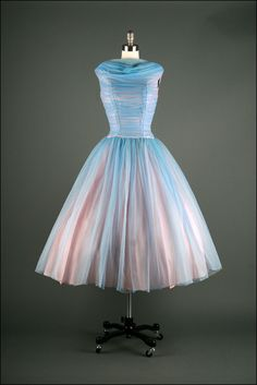 Vtg 50s Blue Chiffon Tulle Shirred Wedding Bridal Prom Party Dress
