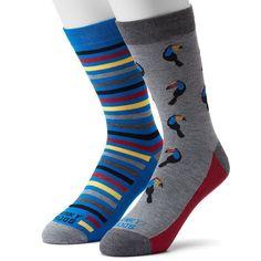 Men's Funky Socks 2-pack Toucan Derby Socks, Size: 6-12, Light Grey