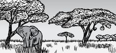African savannah.    Image from Stuart McMillen's comic Supernormal Stimuli.