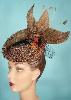 "Another amazing ""Art Bern Hats by Frank Palma"" breathtaking faux bird vintage tilt hat!  I lust after this one..."