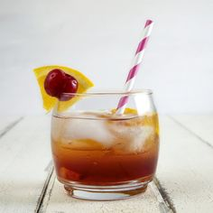 Old fashioned cocktail with cherry infused bourbon, just in time for the season finale of Mad Men