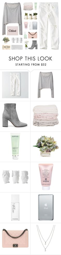 """""""keep it simple"""" by my-pink-wings ❤ liked on Polyvore featuring American Eagle Outfitters, R13, Gianvito Rossi, Darphin, The French Bee, Design 55, Sisley, NARS Cosmetics, Chanel and Eva Fehren"""