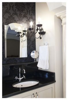 Bathroom black crystal chandelier Design Ideas, Pictures, Remodel and Decor *Ashe