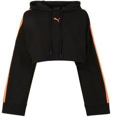 Fenty Puma By Rihanna Tape Cropped Sweatshirt (12.940 RUB) ❤ liked on Polyvore featuring black