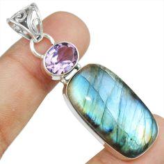 Labradorite & Amethyst 925 Sterling Silver Pendant Allison Co Jewelry Sp-2942 #Allisonsilverco