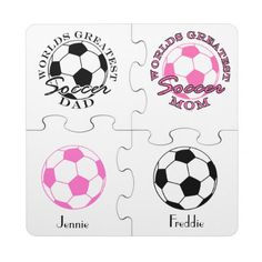 Soccer Futbol Sports Worlds Greatest Mom and Dad Puzzle Coaster This funny design for the soccer - futbol ball mom and dad on your gift list features a pink ball and a white ball with pink and black text Worlds Greatest Soccer Mom and Dad. Great gift for a player, fan or coach.
