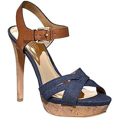 Pre-owned Coach Dani Leather A0768 Denim Sandals ($160) ❤ liked on Polyvore featuring shoes, sandals, denim, platform shoes, platform sandals, heeled sandals, buckle platform sandals y leather sole shoes