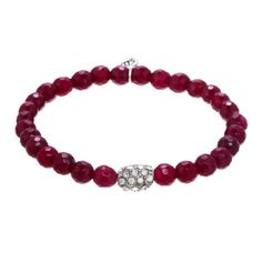 Glam and sparkling, these Red 3mm Agate Beaded Bracelets are each accented with a sparkling pave oval silver bead.  Stack them with more red agate bracelets or create a statement by mixing the red set with other hot colors.  Agates are a variety of quartz gemstones said to offer healing, calming and balance to the wearer. Red is the color of fire and love and is said to inspire courage and passion. Together they represent bold and brilliant.