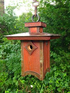 The Penthouse: Arts and Crafts/Mission Style Birdhouse From Reclaimed Barn Wood and Metal Roofing--Made to Order by Roundhouseworks on Etsy https://www.etsy.com/listing/95195698/the-penthouse-arts-and-craftsmission