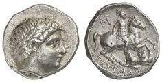 PAEONIA, Patraos, 340-315 BC, tetradrachm, Aversum: youthful head with laurel wreath to the right, reverse: horseman to the right, a killed in action, at the back lying opponent stabbing with a spear, in the Fields top left monogram, below PATRAIOY, Paeonian Hoard I. 351.12. 03 g, fine portrait, good, very fine    Dealer  Auction house Ulrich Felzmann    Auction  Minimum Bid:  250.00EUR