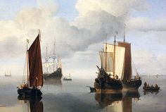 Calm: Fishing Boats Under Sail painted in 1655-60